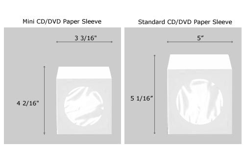 mini cd    dvd white paper sleeves with clear window