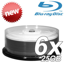 6X White Inkjet Hub Printable Single Layer Write Once 25GB Blu-Ray Media