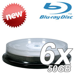 6X Silver Top Double Layer Write Once 50GB Blu-Ray Blank Disc