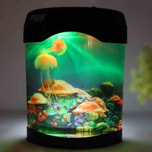 ... Jellyfish Aquarium Artificial Pet Toy Fish Tank with Night Light