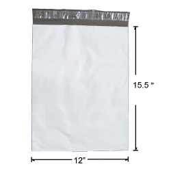 Premium 12 x 15.5 Inches White Poly Mailer - 2.5 Mil Thickness