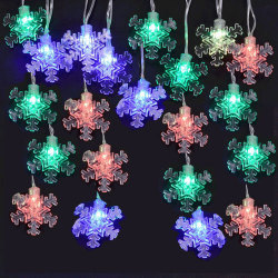 9' USB Powered Snowflake Light Chain w/Color Changing LEDs