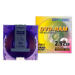 2.92GB Branded Re-Writable DVD-RAM Type 6 in Cartridge