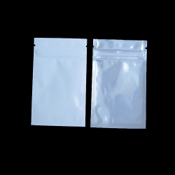 Quarter Ounce / 7 Gram White Barrier Bags With Clear Front, White Back, Silver Metalized Interior