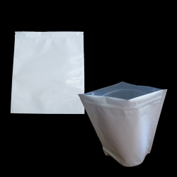 Eight Ounces (1/2 LB) White Barrier Bags All White With Silver Metalized Interior