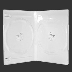 14mm White Standard Double DVD Case