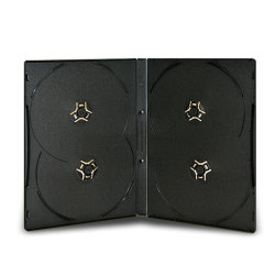 14mm Standard Black CD/DVD Case (4 Disc - 2 Disc each side)