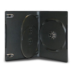 14mm Standard Black CD/DVD Case (3 Disc with tray)