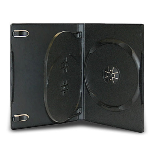 14mm Standard Black CD DVD Case 3 Disc With Tray