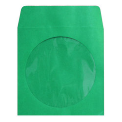 Green CD DVD Paper Sleeves With Clear Window