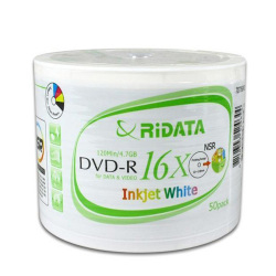 Ridata White Inkjet Hub Printable 16X DVD-R Blank Media Disc