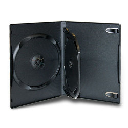 14MM Standard Black CD/DVD Case (2 Discs with 1 Tray and Insert Tab)