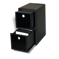 Black Faux Leather 2-Drawer Filling Storage 200 Disc Capacity Included Sleeves