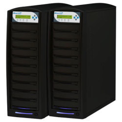 Two Tower, 1 To 20 Target SharkCopier Daisy Chain Duplicator with 20x DVD+R/DVD-R/RW & 10x Double Layer DVD and 250GB Hard Drive Built-In
