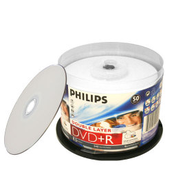 Dual Layer (DL) 8X DVD+R White Inkjet Hub Printable Double Layer DVD Plus R Blank Media Discs in Cake Box