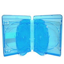 22mm Clear Blue 6 Discs Blu-Ray DVD Case with 2 Tray and Licensed Blu-Ray Logo