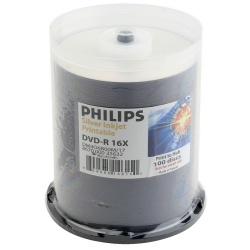 Philips DVD-R 16X 4.7GB Matte Silver Metalized Hub Inkjet Printable Blank Media Discs in Cake Box (100 Per Pack)